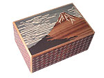 Japanese Puzzle Box 10steps Red Fuji and Crane