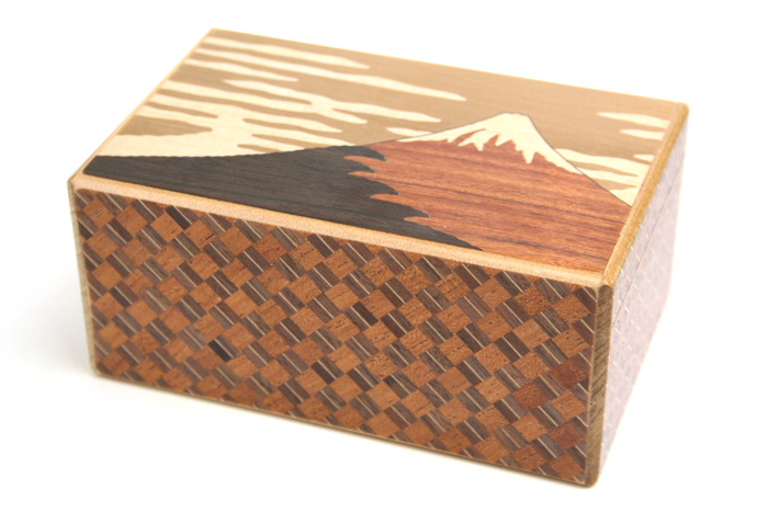Japanese puzzle box 10steps Fuji and Tsubaki