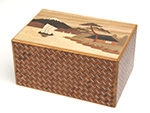 Japanese puzzle box 14steps Sansui (dual compartment)